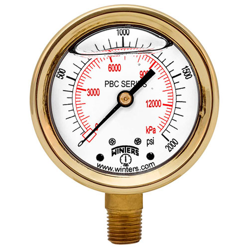 PBC FORGED BRASS CASE PRESSURE GAUGE Image