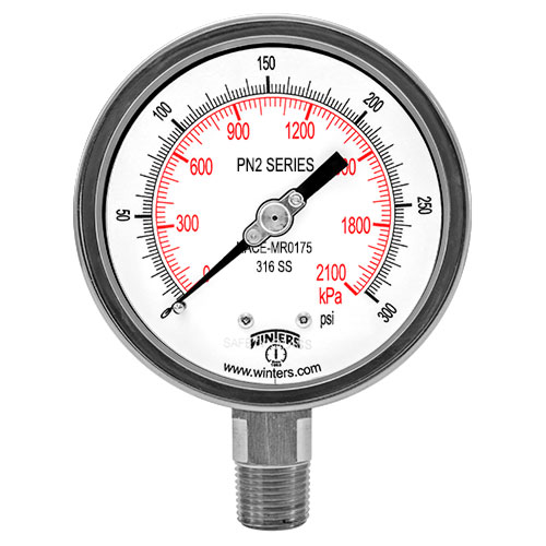 PN2 NACE LIQUID FILLED PRESSURE GAUGE-MR0175-2002 Image